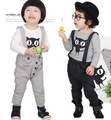 2017 Children Suit Kitten Long T-shirt + Down Bib Pants Baby Boys And Girls Thermal Suspenders Trousers Kid Winter Warm Overalls