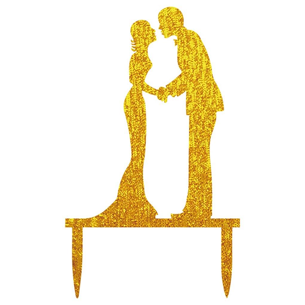 Reusable Acrylic Golden Shining Bride Groom Couple Cake Topper ...
