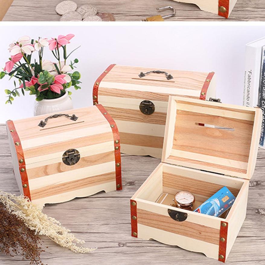 Us 2623 36 Offwooden Box With Lock Money Storage Boxes Case Piggy Bank Jewelry Organizer Secret Caja De Cosmeticos De Almacenamiento In Storage