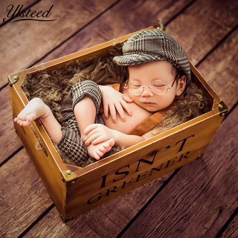 Us 11 98 25 Off Baby Casquette Cap Little Gentleman Outfit Newborn Photography Props Newborn Plaid Costume For Photoshoot Baby Boy Photo Props In