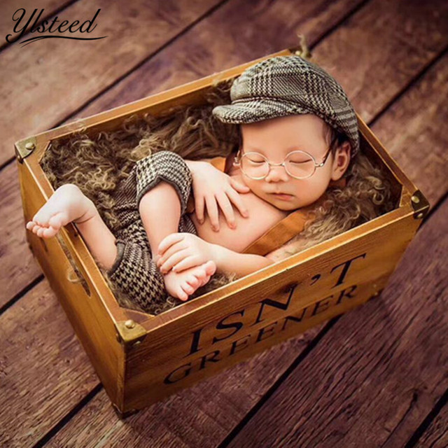 Baby casquette cap little gentleman outfit newborn photography props newborn plaid costume for photoshoot baby boy