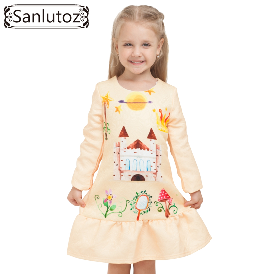 2016 Winter Girls Dress Brand Kids Clothes Girls Children Clothing Cartoon Dress Princess Holiday Party Wedding Toddler Autumn girls dress winter children clothing brand girls dress cartoon kids clothes for princess holiday party wedding baby toddler
