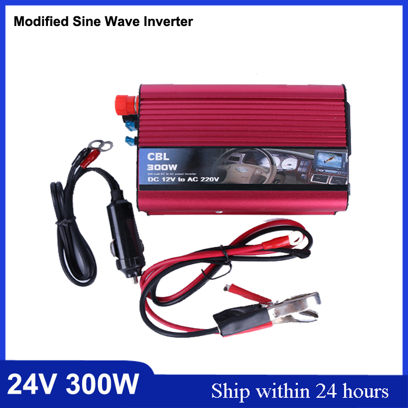 Hot 300W DC 24V to AC220V Solar Power Inverter with USB Port/for House Applicants Power Converter/Samrt 300W 24V Car Inverter solar power on grid tie mini 300w inverter with mppt funciton dc 10 8 30v input to ac output no extra shipping fee