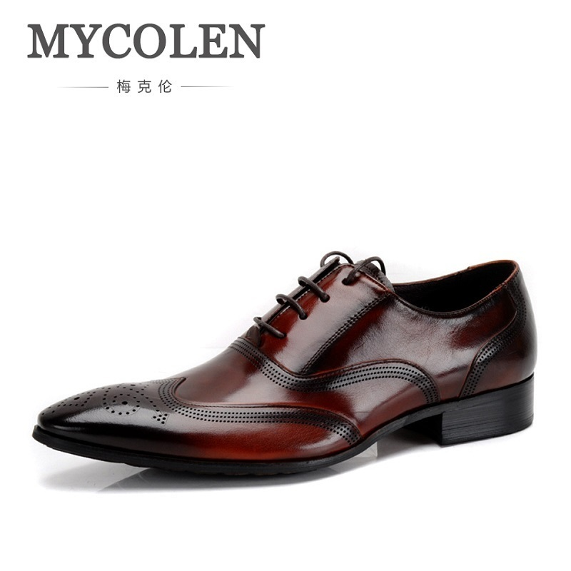 MYCOLEN Wedding Men Dress Shoes Genuine Leather Black Formal Male Oxford Italian Classic Men's Shoes Sapato Oxford Masculino northmarch wedding men dress shoes genuine leather black formal male oxford italian classic men s shoes sapato oxford masculino
