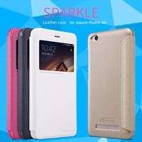 For Xiaomi Redmi 4A NILLKIN Sparkle Luxury Flip Leather With Smart View Window Back Cover Phone