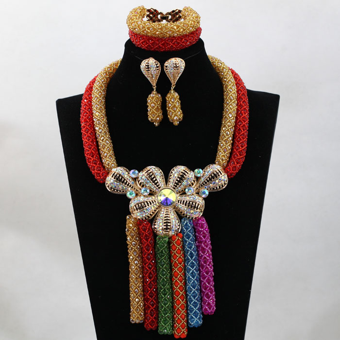 Gorgeous Red/Champagne Nigerian Wedding African Beads Jewelry Set Arabic Chunky Costume Bridal Jewelry Set Free shipping  HX727