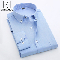 2016 New Arrival Fashion Men Dress Shirt Slim Fit Solid Color Male Business Long Sleeve Oxford