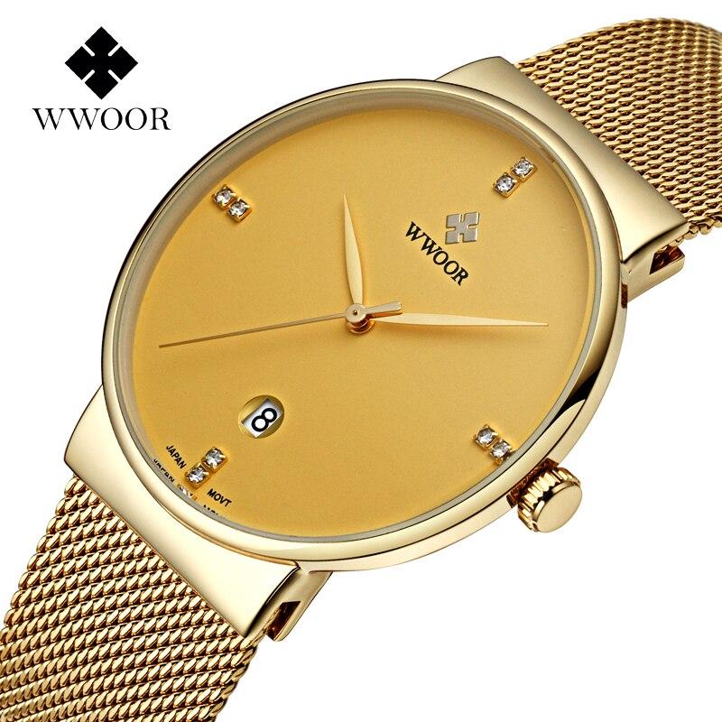 Prix pour Luxe Top Marque Maille Bracelet En Acier Mince de Cas Hommes Montre avec Golden Placage Montre-Bracelet D'affaires Décontractée Mâle relogio masculino