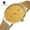Top de luxo Da Marca Malha Caso Cinta de Aço Fino Relógio dos homens com Ouro Plating Business Casual relógio de Pulso Masculino relogio masculino