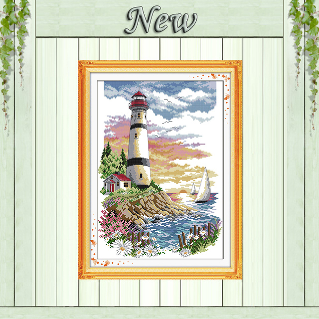 Lighthouse seaside scenery Painting 11CT Counted printed on canvas DMC 14CT chinese Cross Stitch kits embroidery needlework Sets