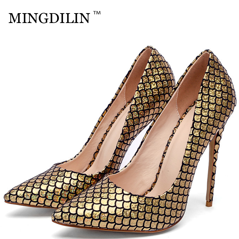MINGDILIN Stiletto Women's Pumps High Heels Shoes Golden Silver Party Woman Shoes Plus Size Snakeskin Pointed Toe Sexy Pumps mingdilin stiletto women s golden pumps wedding high heels shoes plus size 43 party woman shoes fashion sexy pointed toe pumps