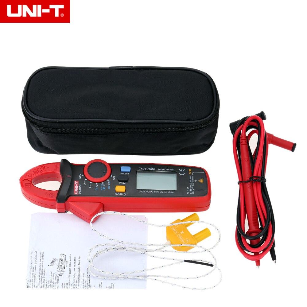 UNI-T UT210D Mini Digital Clamp Multimeter 200A Auto Range AC/DC Voltmeter Ammeter Resistance Capacitance C/F Temperature Tester