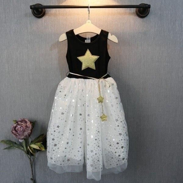 Meninas verão Lantejoulas Vestido de Festa Da Princesa Kid Pageant Formal Vestido Estrela Impressão Sem Mangas