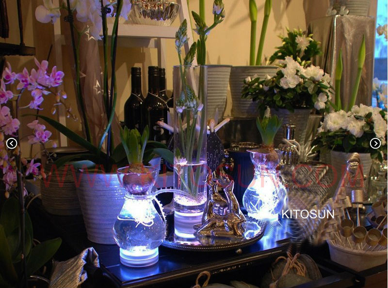 4pcs/set Battery Powered Waterproof RGB Multicolor Centerpiece LED Vase Light With Remote