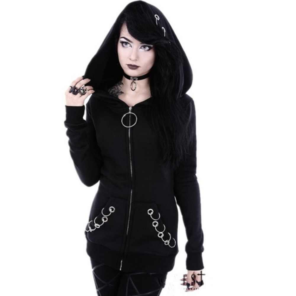 Punk style sweat à capuche pour femme Cool couleur unie sweats printemps automne à manches longues noir veste fermeture éclair manteau streetwear Hip Hop hauts