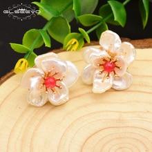XlentAg 925 Sterling Silver Stud Earrings Natural Stone Baroque Pearl Flower For Women Handmade Fine Jewellery GE0677