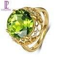 Lohaspie Sólido 18 K Amarillo Oro 8.76ct Peridot Natural de Piedras Preciosas y Anillos de Bodas de Diamante Para Las Mujeres Joyería Fina