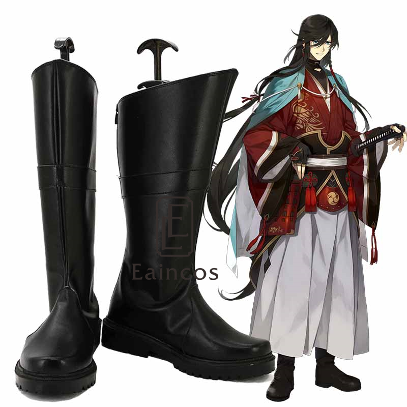 Touken Ranbu Online Izuminokami Kanesada Black Shoes Cosplay Party Boots Custom Made