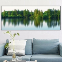 Lakeside Forest Panorama Picture Wall Decor Vintage Home Decoration Canvas Painting for Living Room Wall Art Tree Poster Custom