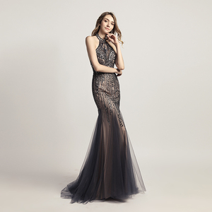 Image 3 - Женское длинное вечернее платье с юбкой годе, элегантное официальное платье с открытой спиной и лямкой на шее, без рукавов, LSX437