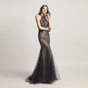 Image 3 - Luxury Evening Dresses Long Mermaid Elegant Crystal Prom Gown Tull Halter Backless Sleeveless Women Formal Robe De Soiree LSX437
