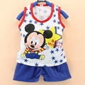 summer boys Kids Clothes suit Mickey sleeveles vest 2pcs toddler boys clothes Sports children Suit, baby Boys Clothing Set