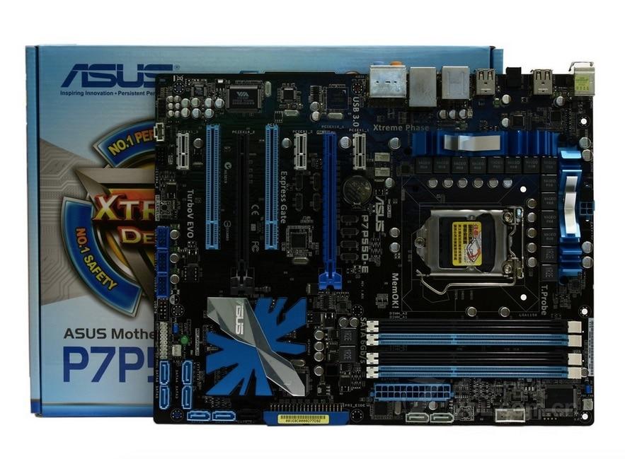 D'origine carte mère ASUS P7P55D-E DDR3 LGA 1156 USB2.0 USB3.0 conseils pour I5 I7 CPU 16 GB P55 Bureau motherborad Livraison gratuite