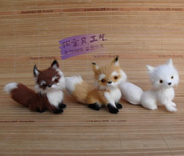 3 vnt mažos mielos lapės žaislai simuliacija lapės lėlės apdailos lėlės dovanų žaislas apie 13 * 5 * 11cm 2057