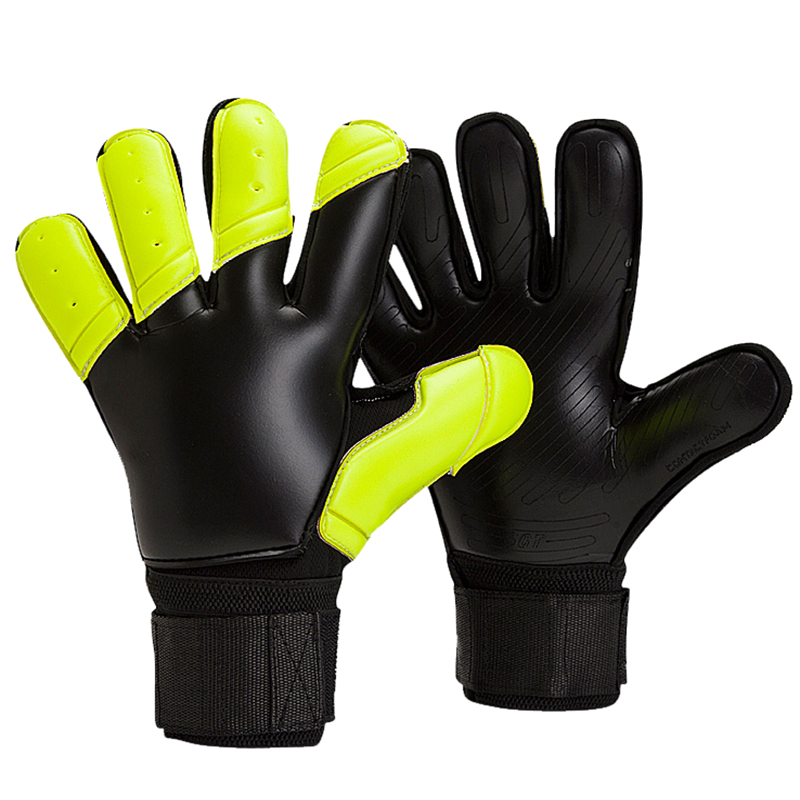 TOP Quality All Latex Goalkeeper Gloves Has Fingersave Protection Rods Soccer Football Goalie Gloves Kids Adults Size 8 9 10