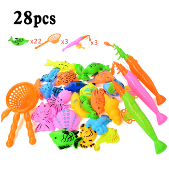 12/20/28pcs Per Set Magnetic Fishing Game Fish Toy Kids Educational Rod Bath Magnet Toys for Children Gifts