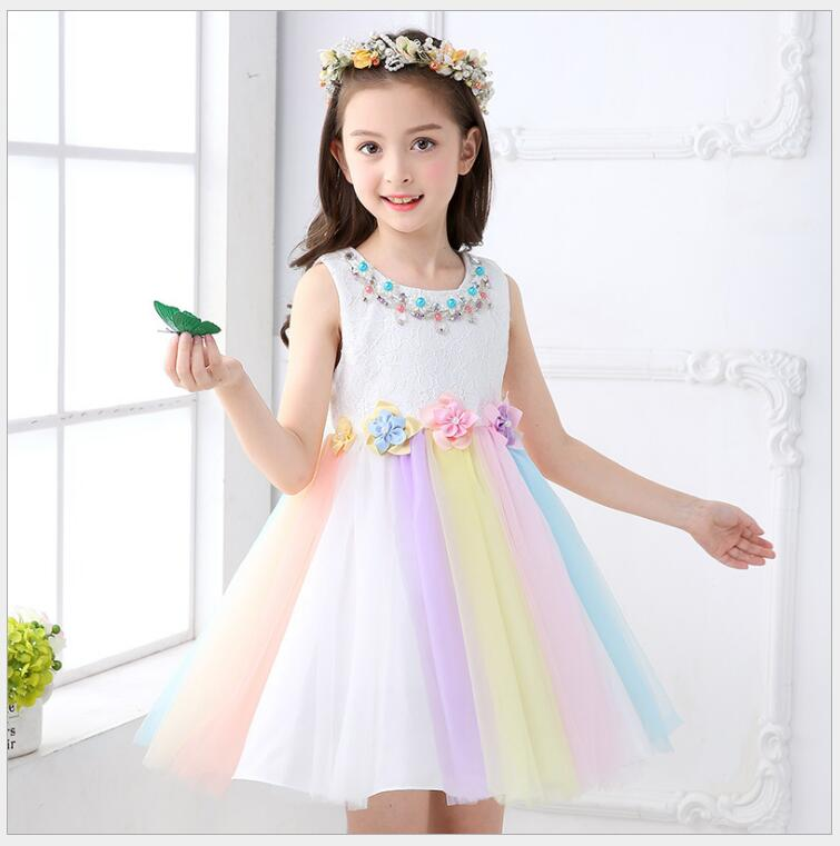 rainbow colors tulle princess dress elegant baby girls birthday party dress flower girl lovely sundress of honor