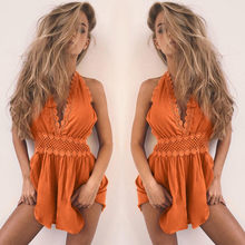 Womail Jumpsuit Women Solid Lace Backless Lace Playsuit Bodycon Summer Beach Jumpsuit Casual Romper Apr 23(China)