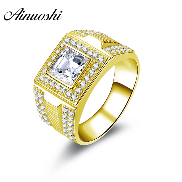 28677fc21c AINUOSHI Luxurious 10K Solid Yellow Gold Men Ring Square Cut Halo Ring  Engagement Wedding Male Jewelry 7.9g Big Wedding Band