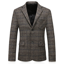 лучшая цена Suit jacket brand clothing men's plaid suit jacket men's two buckle fashion slim casual plaid suit jacket men's size S-3XL