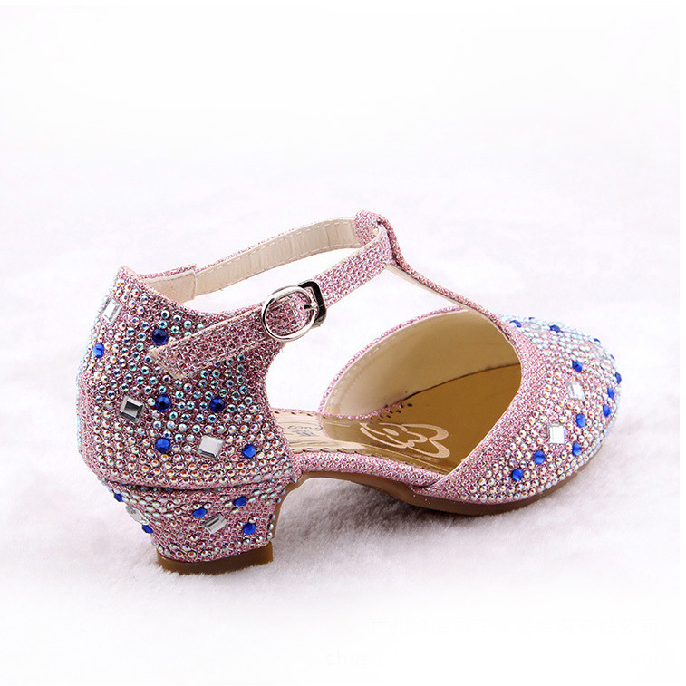 Crystal Cartoon Image Snow Fairy Girls Shoes Princess Bow Glitter Baby Girl  Shoes Leather High Heels Girls Dress Shoes for party-in Sandals from Mother  ... 84a76d9b090a