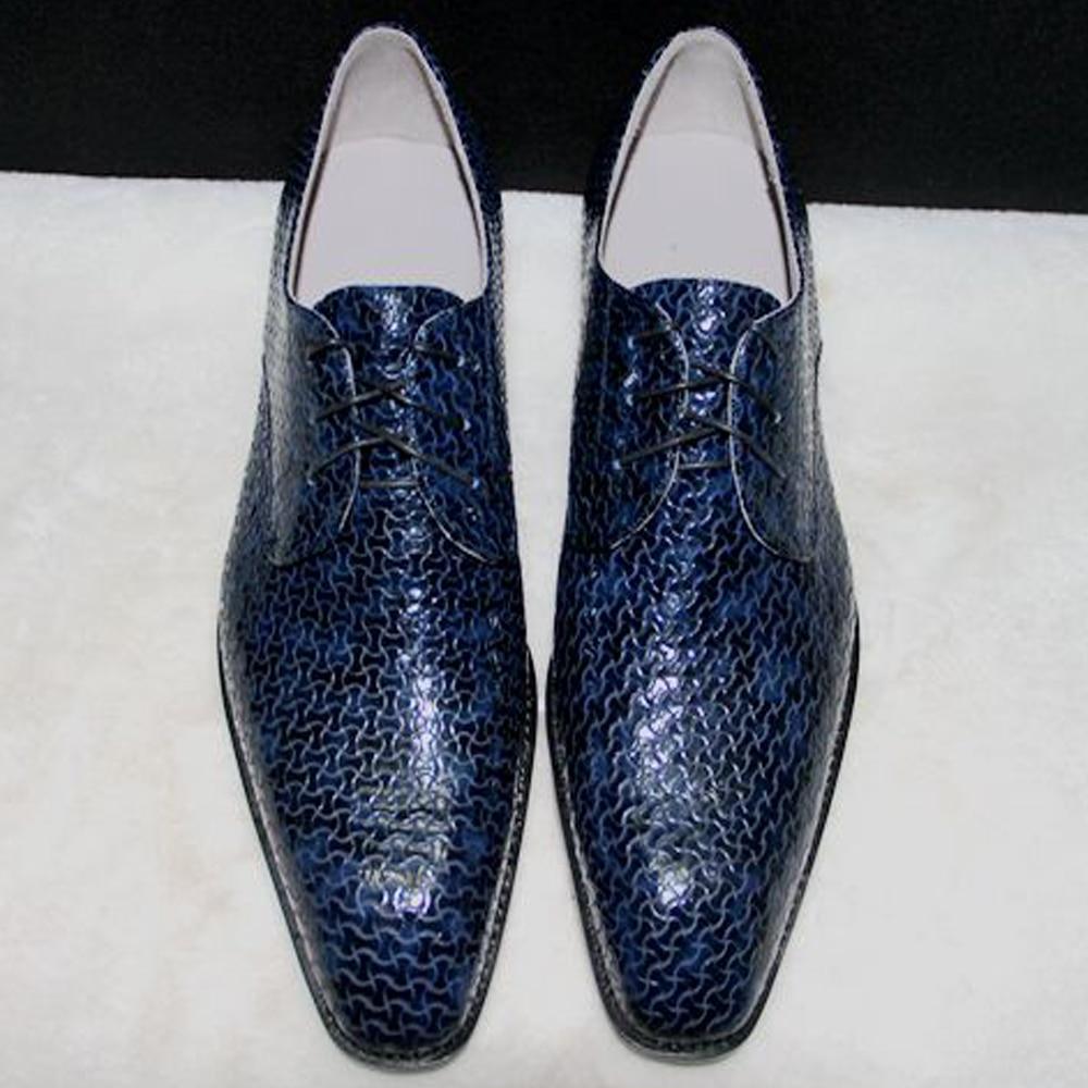 2016 luxury european mens dress shoes square toe navy blue