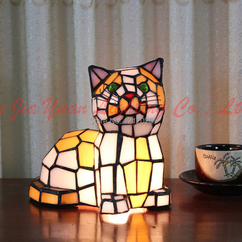 New Arrival Tiffany Stained Glass Cat Lamp Table Lamp