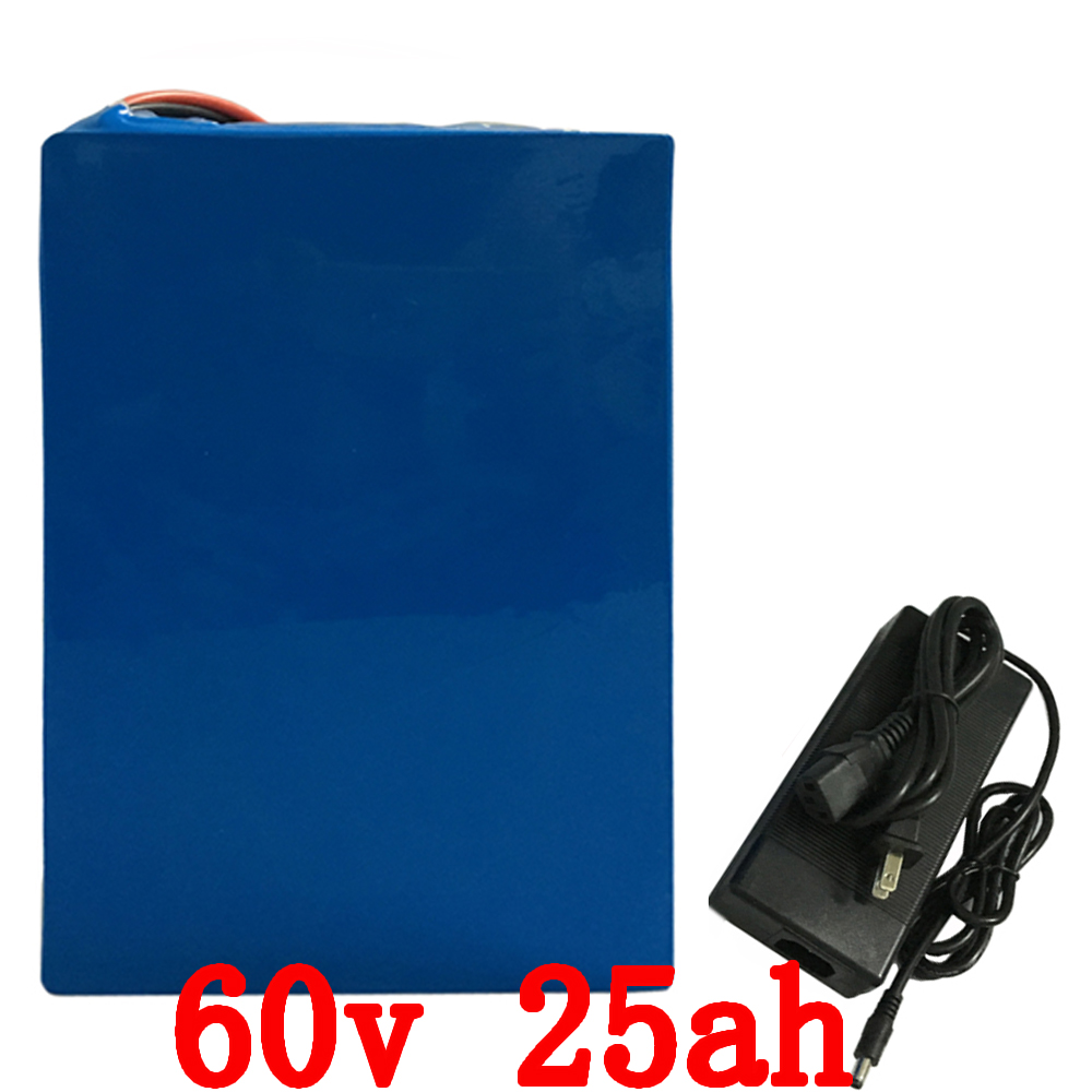 Free shipping 2000W 60V 25Ah Lithium li-ion Battery Pack for Electric Scooter Bicycle Bike with 30A BMS and 2A Charger free shipping 48v 15ah battery pack lithium ion motor bike electric 48v scooters with 30a bms 2a charger