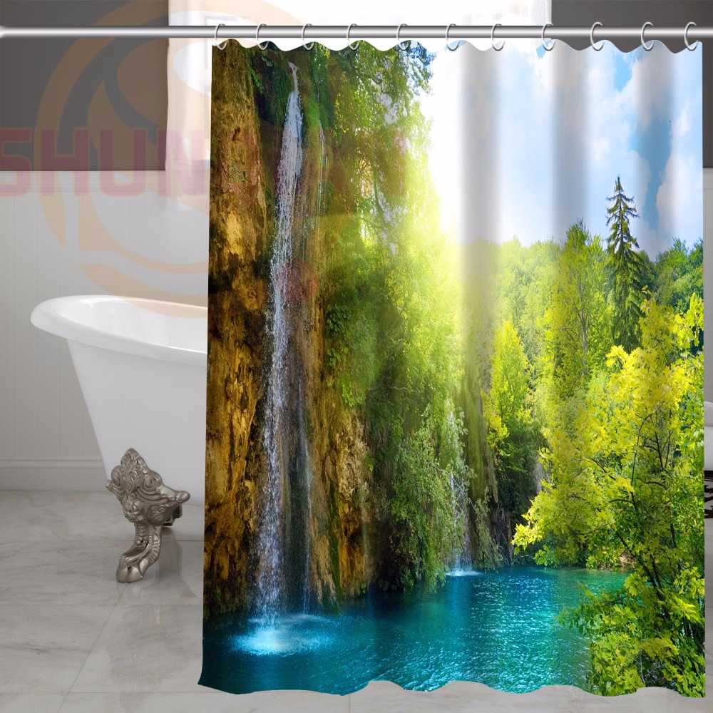 H+P#261 Hot Sale 3D waterfall landscape#1 Custom waterproof Shower Curtain Bathroom decor more sizes SQ01003@H0261