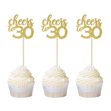 12pcs Gold Glitter Cheers to 30 Cupcake Toppers 30th Birthday Picks Celebrating Party Decors Thirty Cake