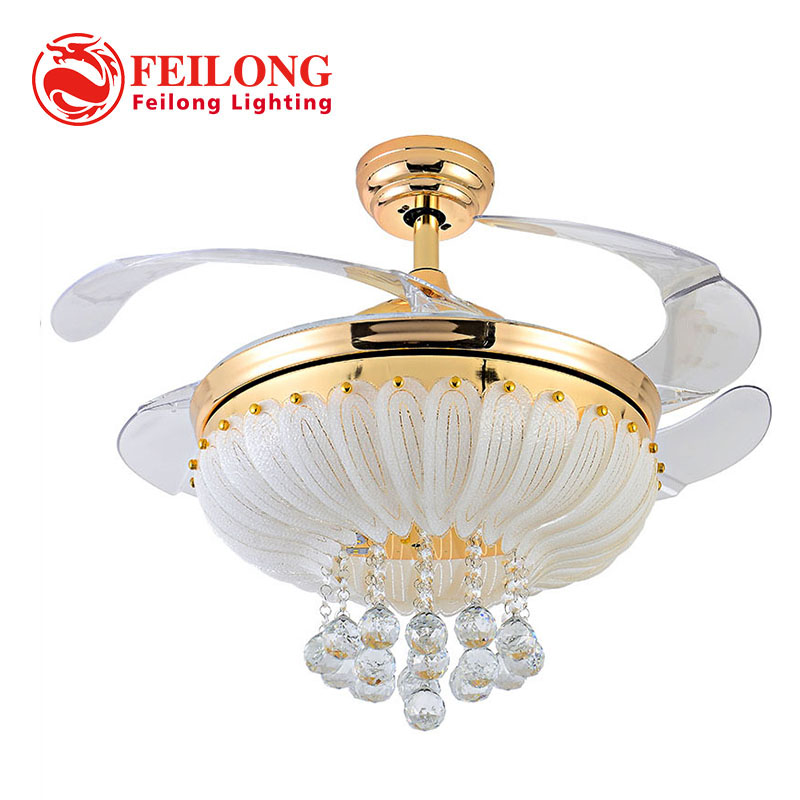 Retractable blades crystal ceiling fan with led light aloadofball Gallery