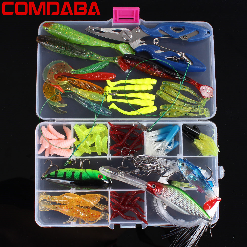 Hot Sale 106 Pcs Soft Fishing <font><b>Lures</b></font> Lead Jig Head Hook Grub Worm Soft Baits Shads Silicone Fishing Tackle Artificial Bait <font><b>Lure</b></font>