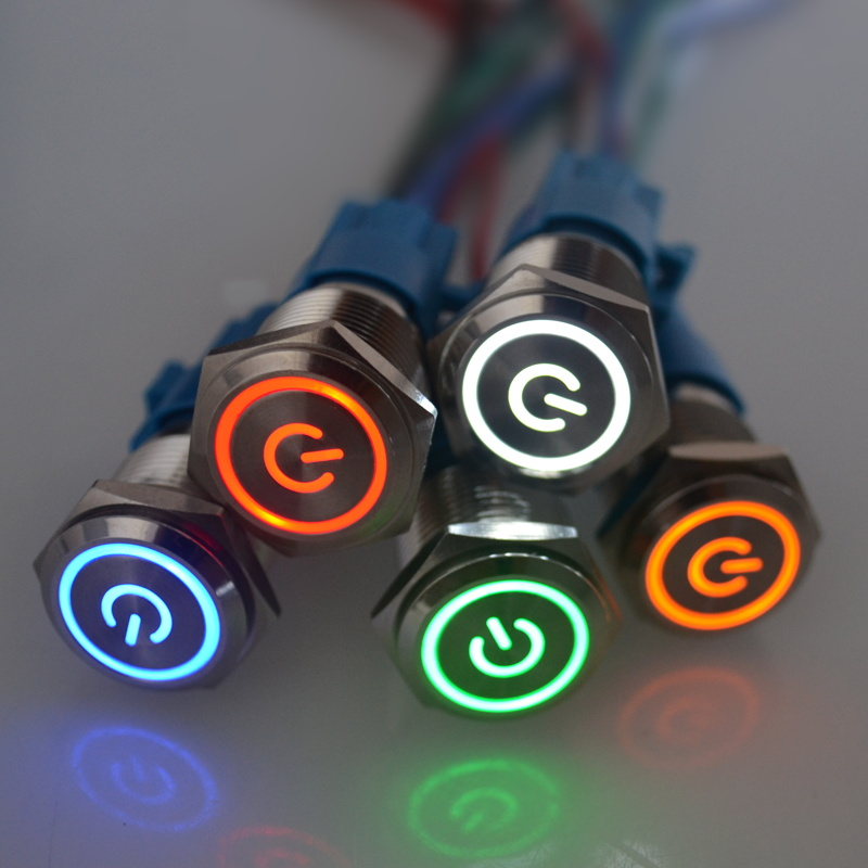 1 шт. 16 мм Мгновенный металлический кольцевой кнопочный переключатель светодиодный самоблокирующийся/самоблокирующийся водонепроницаемый двигатель Автомобильная кольцевая кнопка двери