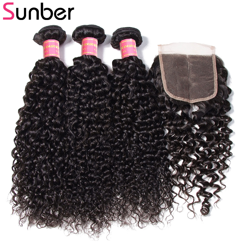 Sunber Hair Brazilian Curly Hair 3 csomók bezárása Remy - Emberi haj (fekete)