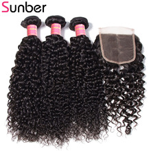 Sunber Hair Brazilian Curly Hair 3 Bundlar With Closure Remy Hårförlängning 100% Human Hair Weave Bundles With Closure Free Part