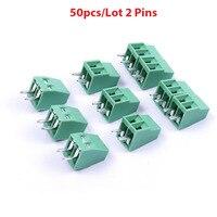 Top Quality 50PCS 2 Pins 3 Pins Mini Splice PCB Universal Screw Terminal Block Connector 2