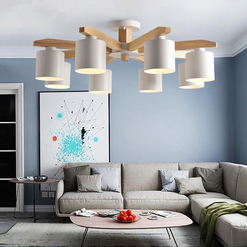 LED Chandelier For Living Room Wood Lustre E27 Chandelier
