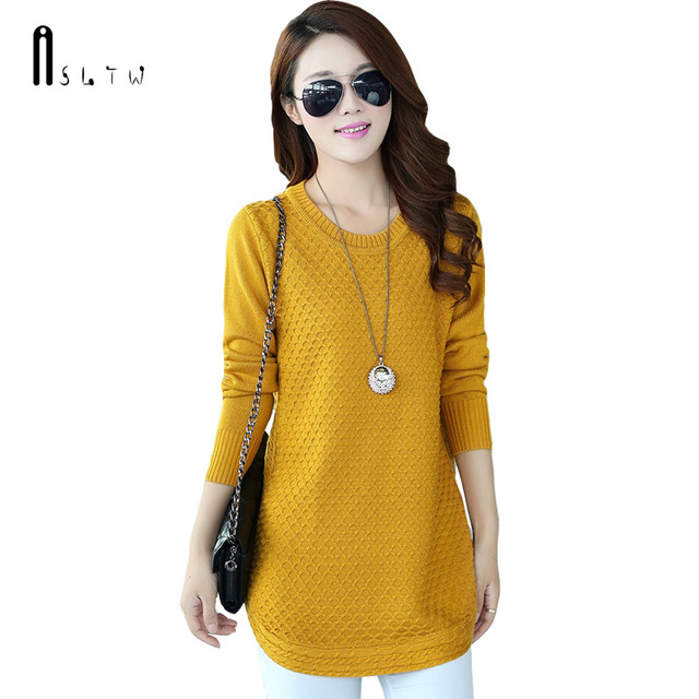 e2cc6da8565 ASLTW Long Sweater For Women New Fashion Plus Size Long Sleeve Lady s Sweater  Solid O Neck Pullover Sweater Dress