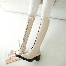 2016 Winter New Women's Chunky Heel Platform Lace-up Knee High Knight Boots Tall Boots Comfort Long Boots Heels Shoes for Women