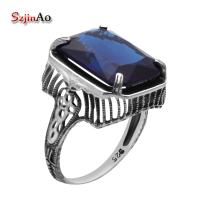 Szjinao British Kate Princess Diana William Engagement Wedding Sapphrie Ring Pure Solid 925 Sterling Silver Jewelry